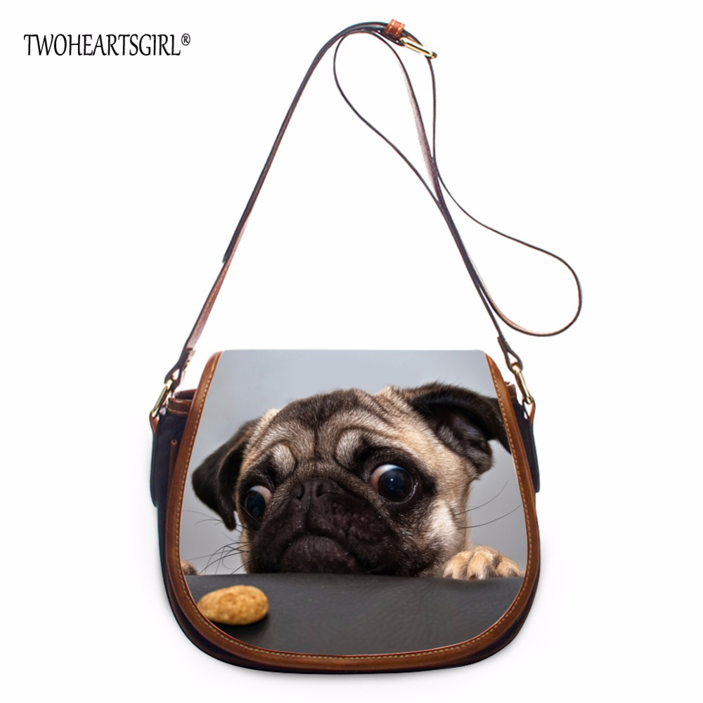 TWOHEARTSGIRL Cute Pug Dog Pattern PU Leather Shoulder Bag Women Adjustable Strap Crossbody Female Lightweight Messenger Bags<br>
