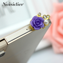 3D Rose Flower Crystal Bead Pearl Diamond 3.5mm CellPhone Charm Anti Dust Plug Earphone Headphone Jack Accessory Dustproof Plug(China)