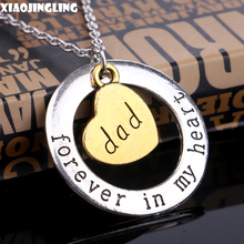 XIAOJINGLING Dad Forever In My Heart Pendant Necklaces & Pendants Family Member Christmas Gift Love Symbol Jewelry For Children(China)