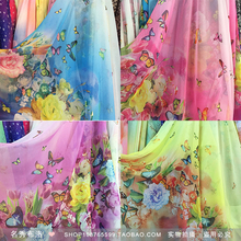 30D printed chiffon scarf yarn butterfly clothing costume transparent silk fabric