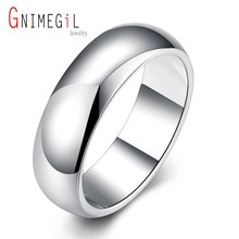 GNIMEGIL Brand Jewelry Elegant Gifts Silver-Plated Women & Men's Rings with Smooth Surface Wholesale Hot Fashion Jewelry