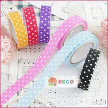 1pc/lot Fashion polka dot DIY fabric dots Printed Decoration fabric tape,Stationery adhesive Tape (SS-454)