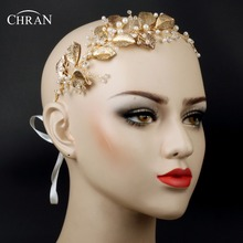 Chran Faux Pearl Wedding Crown Tiaras Bridal Gold Color Leaf Hair Vine Halo Headband Boho Headpiece Bead Hair Combs Accessories