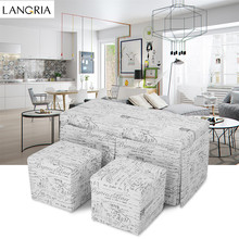 LANGRIA 3-Piece French Script Patterned Fabric Storage Bench and Cube Ottoman Set Footrest Stool Seat, Beige