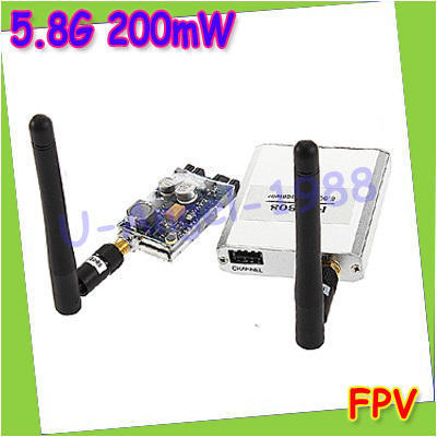 New 5.8G 200mW FPV Video Audio Transmitter TX 2KM 2000M + 5.8GHz Rx Receiver+free shipping<br>