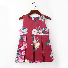 2-7Y Kids Roses Princess Dress Children's O-neck Sleeveless Clothing Baby Girl Vintage Flower Clothes Birthday Party Dresses