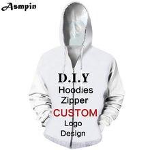 Asmpin DIY diseño personalizado ropa 3D imprimir moda hombres mujeres niños  Zipper sudadera Hoodies alta calidad al por mayor má. e8730934a53