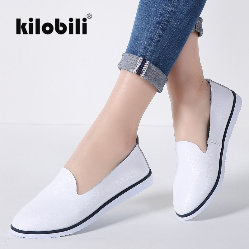 kilobili Women Ballet Flats Shoes Genuine Leather Slip on ladies Shallow Moccasins Casual Shoes Female Summer Loafer Shoes Women(China)