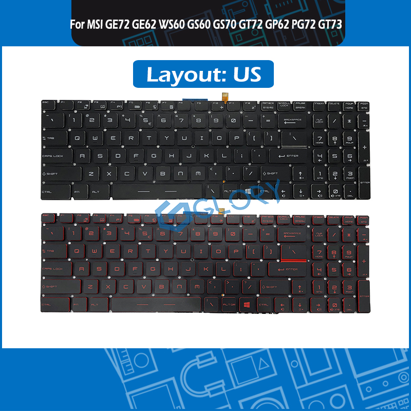 New for MSI Steel GS70 2OD GS70 2PE GS70 2QE Gaming keyboard Colorful backlit US