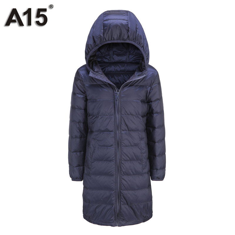 A15 Brand Boys Down Parkas Hooded Light Long Winter Down Jacket for Girl Kids Jackets Girls Warm Winter Coat Size 6 8 10 12 Year<br>