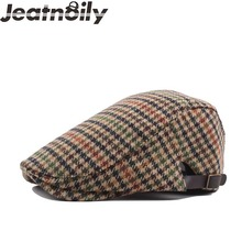 Brand Fashion Vintage British Checked Plaid Hats for Men Women High Quality Casual Cotton Unisex Adjustable Beret Caps Outdoors(China)