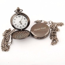 Custom Gunmetal Antique pocket watch Personalized Engraved Pocket Watch Necklace Pendant Women Men's Gifts 4z1758