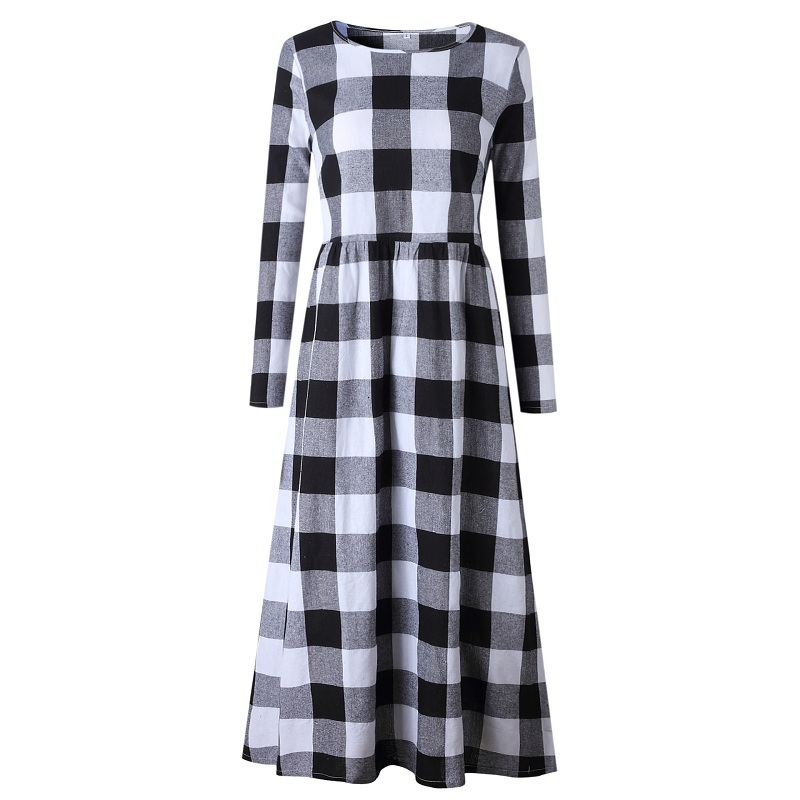 LOSSKY Fashion O-neck Long Sleeve Black White Plaid Maxi Dress Women 2018 Autumn Winter Vintage Casual Linen Long Ladies Dresses 9