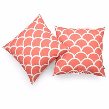 2Pcs Throw Pillow Cover Set Canvas Coral Pink Scallops Geometric Sofa Decor 45x45cm(China)