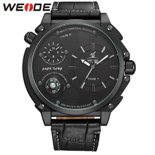 New Brand WEIDE Military Compass Watch Relogio Masculino Mens Quarzt Analog Display Genuine Leather Strap Watch Big Black Dial