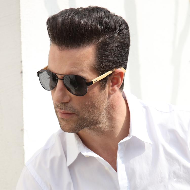 Ralferty Vintage Pilot Wood Sunglasses Men Women UV400 Gradient Sun Glasses Driver Sport Eyewear Original Bamboo Sunglass Male