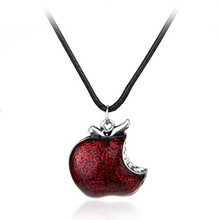 TV Jewelry Once Upon A Time Snow White Regina Crystal Poison apple Pendant Necklace Colliar Leather Cord Women Girls Gift(China)