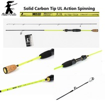 Target Strike Brand Designed ULTRA-TECH Light Game 0.5-6g UL Spinning Fishing Rod. Solid Carbon Tip Section.