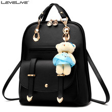 LeveLive Fashion Women Mini Backpack with Bear Pendant PU Leather School  Bags for Teenage Girls Female Rucksack Ladies Bagpack bc9766a1be