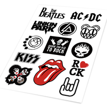 A4 Rock Music Beatles Kiss Big Tongue Linkin Skulls Colored Car Sticker Skateboard Trolley Guitar  CD Player Ipad Phone Decal