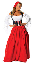 Plus Size M-XL New Red/Blue Sexy Ladies German Beer Girl Costumes Bavarian Oktoberfest Costumes Adult Beer Maid Fancy Long Dress
