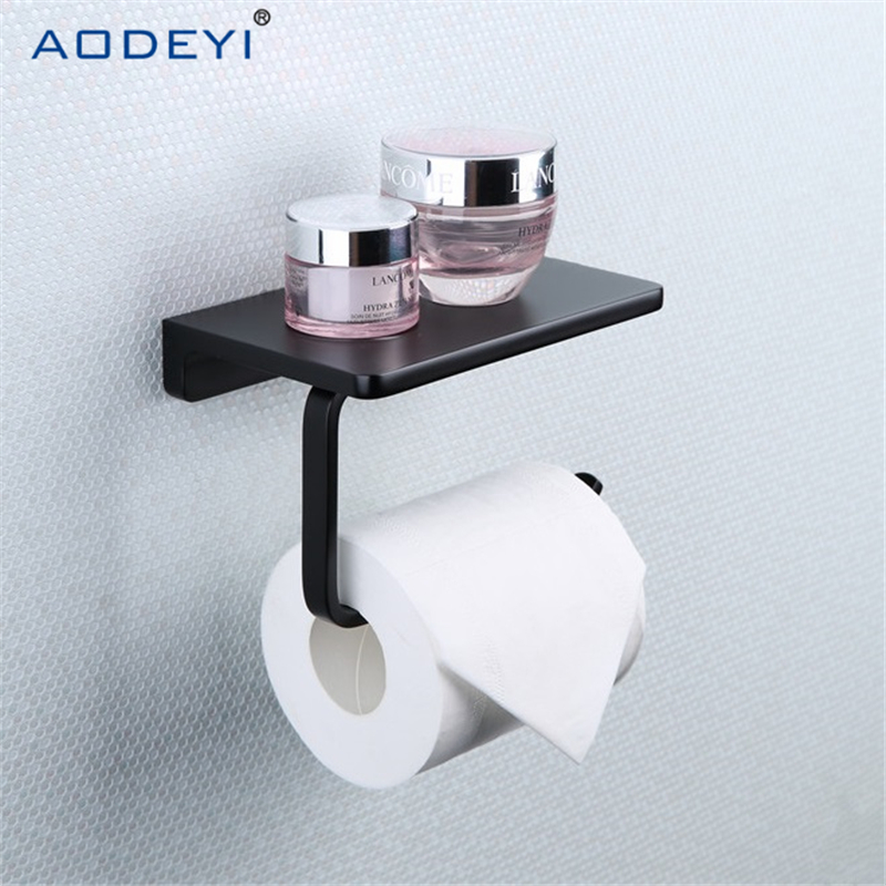 Brass Matte Black  Paper Holder Multi-function Bathroom Shelves Single Roll WC Toilet Paper Holders Tissue Box<br>