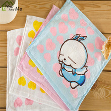 Home Texiles 100% Cotton Square Peach Heart Small Kerchief Cartoon Baby Face Hand Towel 23x23cm