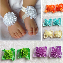 Wholesale 10Pair/lot Baby Footwear Barefoot sandals Satin Flowers Carnation Chiffon Flower shoes 15Color baby kids shoes
