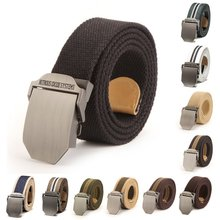Fashion Adjustable Men Slider Buckle Military Long Weave Canvas Web Belt