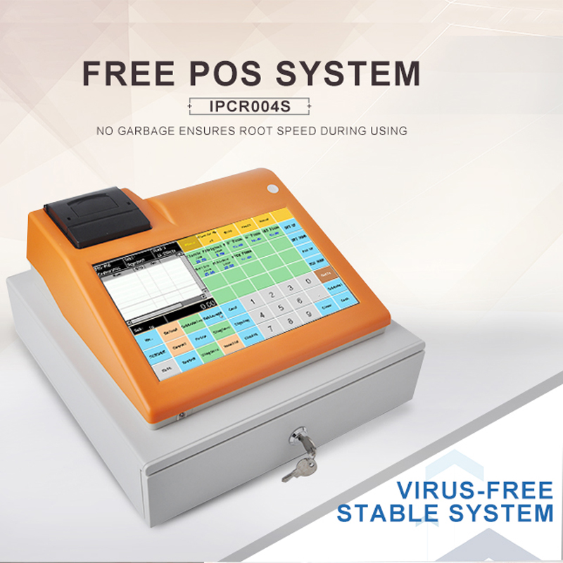 IPCR004S 11 inch POS machine all in one touch screen pos system restuarant cash register free English software bulit-in printer