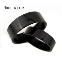 wide 4mm Men pinkie rings wedding ring fine black glossy men's tail ring  influx of people ring