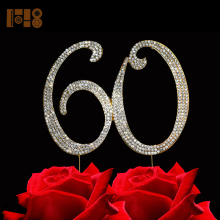 (15 pieces/lot)wholesale Number 60 metal rhinestone birthday cake toppers,number wedding anniversary decoration(China)