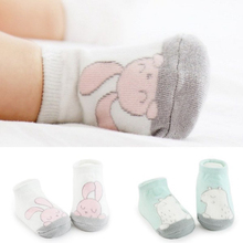 Cartoon unisex newborn baby socks anti slip rubber sole socks for girls/boys cotton toddler boat spring full socks