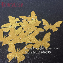 Hand punched Gold glitter paper Butterfly wedding party confetti table confetti 200 table scatters bridal baby shower decoration