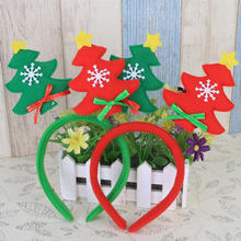 10pcs/lot Children Cute Christmas Tree Headband Christmas Gift Ribbon Hair Accessory ornaments Xmas Natal Decorations Supplies