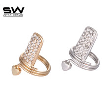 STARWORLD 2 colors  Ring Prong Setting Finger Nail Rings For Women Jewelry Punk Finger Nail Ring Jewelry heart design nail rings