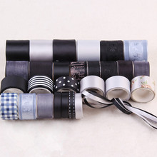Gray Black Style Organza Grosgrain Satin Jacquard Mixed 29YDS Ribbon Set DIY Sewing Tapes Hair Kids Hairbow Accessories N-24