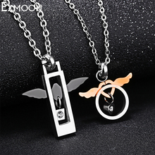 EX-MOON Fashion Angel Wings Pendant Necklace Titanium Steel Crystal heart Love Pendant necklace For Lover Women Valentine Gift(China)