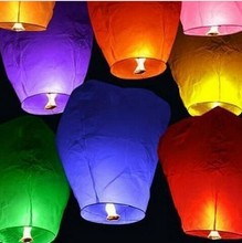 Wholesale Colorful Wedding Balloons Flying Paper Sky Lanterns Chinese Paper Wish Floating Lamps Lights Birthday Party Decoration(China)
