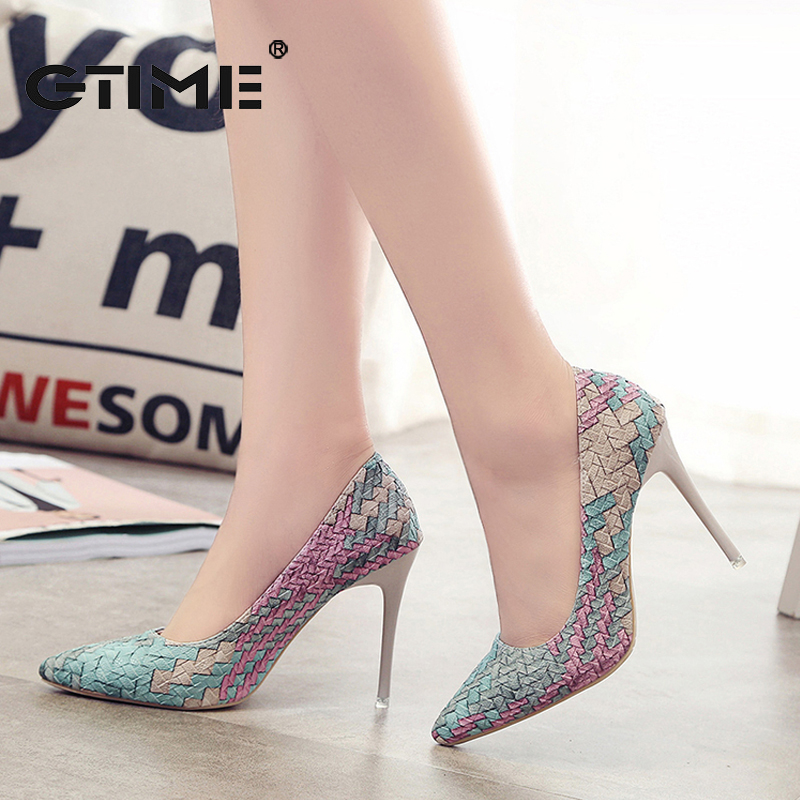 GTIME 2017 Pumps Woman Shoes Spring Autumn New National Wind Retro Plaid Thin High Heels Pointed Fine with Single Shoes #ZWS87<br><br>Aliexpress