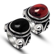 Red and black Semi-precious Stone couple rings retro palace influx of people Men Women simple titanium steel jewelry(China)