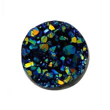 8SEASONS Resin Embellishment Findings Round Royal Blue AB Color 12mm Dia,50PCs