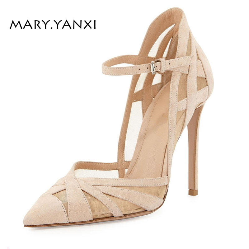 Spring/Autumn Women Shoes Pumps Fashion Party Flock Nubuck Mary Janes Thin Heel Pointed Toe Shallow Stilettos Buckle Strap Mesh<br>