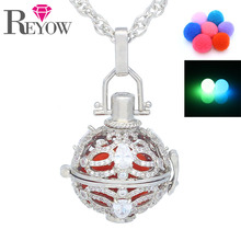 "Glow Beads White Gold Full Crystal Butterfly Hollow Locket Pendant Aromatherapy Essential Oil Diffuser 24"" Necklace Jewelry(China)"