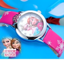 2016 New Cartoon Children Watch Fashion Princess Elsa Anna Quartz Kids Wristwatches Student Cute Leather Strap Watches Gifts(China)