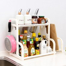 Kitchen Chopping Board Pot Knife Rack Stands Cooking Tool Organizer Double Layer Multi-functional Condiment Shelf Holder Hook(China)