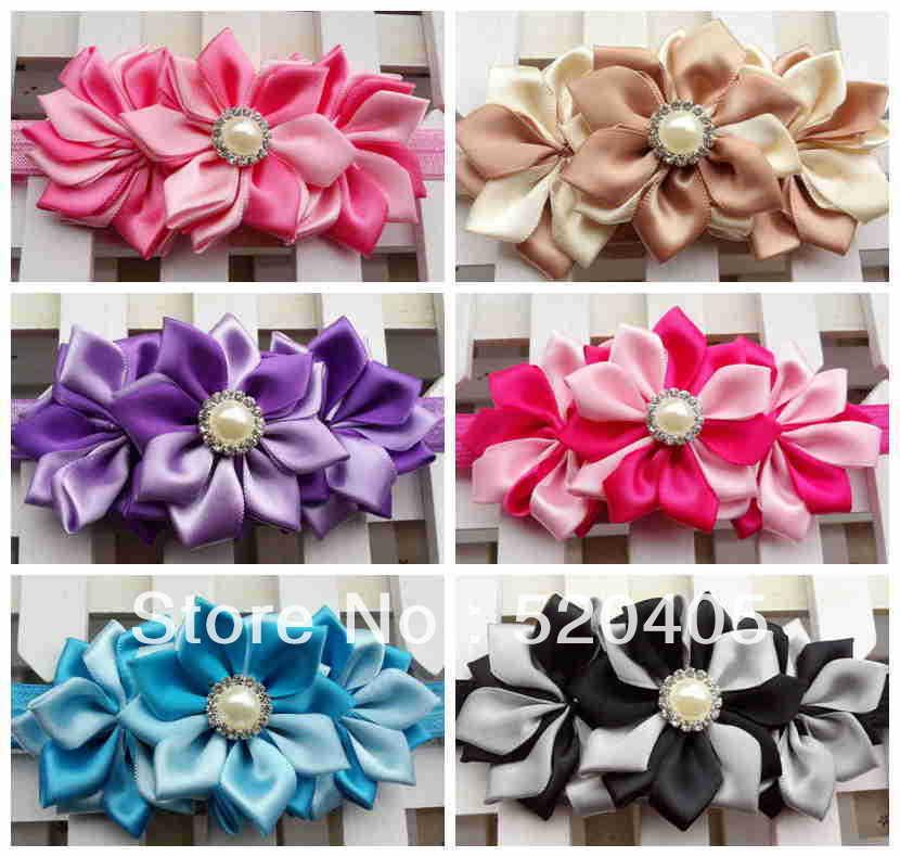 Newborn headband Satin flowers with Pearl Button baby headband DIY Flower Girls Women Hair band 12 PCS<br><br>Aliexpress