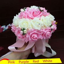 Hot Selling Artificial Wedding Bouquets,Pink Purple Red Bridesmaid Bridal Rose Flower Bouquet,New Handmade Wedding Party Flowers