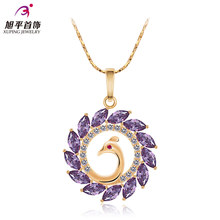 4 colors cute rose gold peacock flowers long necklace colorful purple crystal round Hollow Pendant women jewelry girlfriend gift