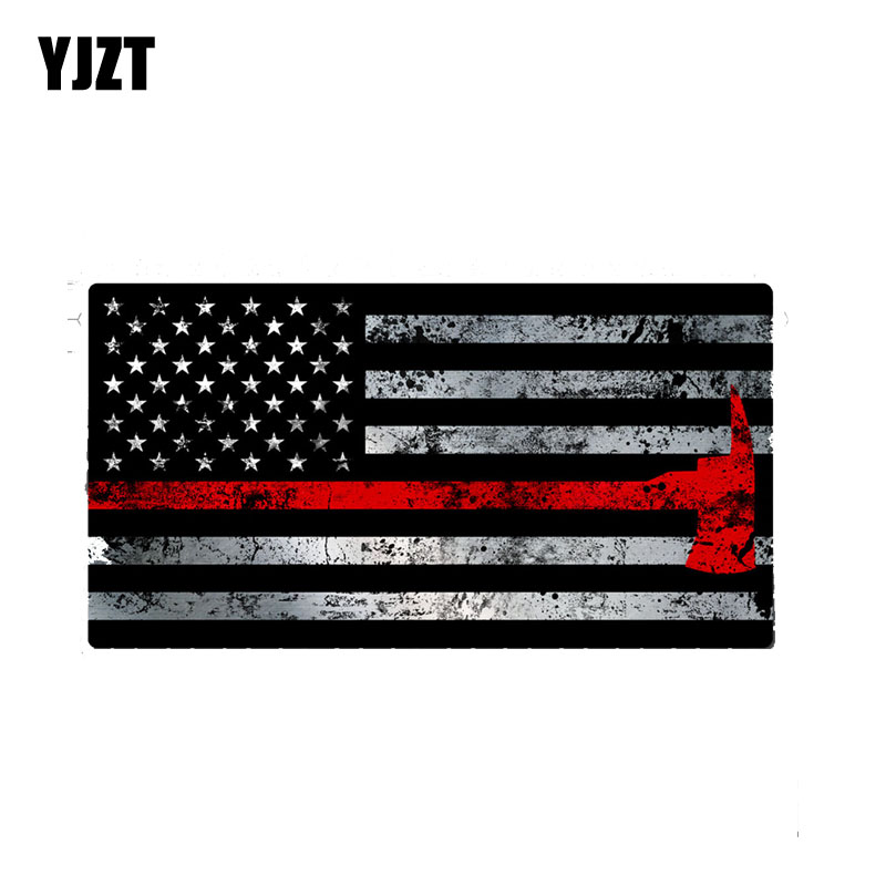 """Firefighter Maltese Cross Distressed Black Flag Red Line Reflective 2/"""" Decal"""
